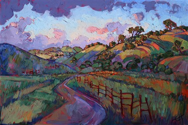 California wine country dramatic sunset oil painting for sale by Erin Hanson