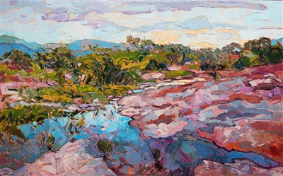 Paintings like Van Gogh modern impressionism of Texas Hill Country.