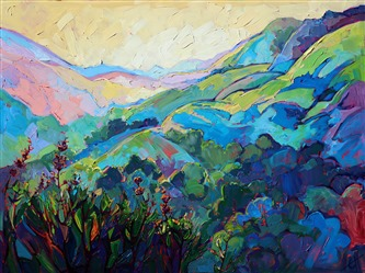 Paso Robles rolling hills landscapes in oil by Erin Hanson