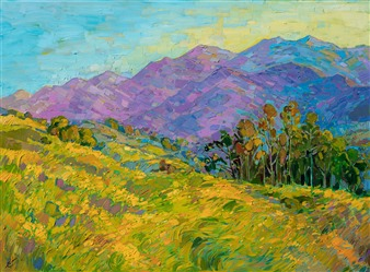 Mustard flowers on a California hillside, by contemporary landscape artist Erin Hanson.