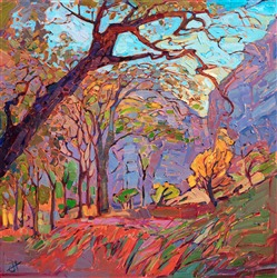 Zion canyon red rock painting in a contemporary impressionist style, by Erin Hanson.