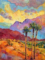 Indian Wells colorful painting of the California desert, by impressionist artist Erin Hanson