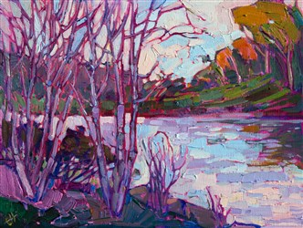 Big Canyon Country Club artwork colorful original oil painting from art show, by Erin Hanson.