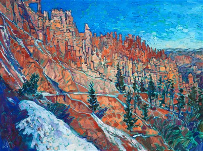Bryce Canyon oil painting of Southwestern red rock landscape, by modern expressionist painter Erin Hanson.