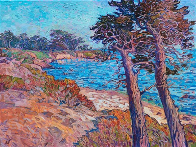 Monterey Pebble Beach cypress tree painting by popular modern impressionist Erin Hanson