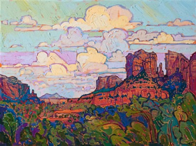 Sedona oil painting for sale by contemporary impressionist Erin Hanson