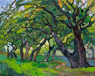 Crystal Oaks, modern expressionism landscape painting by Erin Hanson