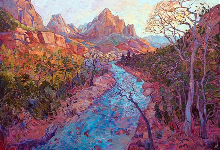 Oil painting of Zion National Park, in a contemporary impressionist style, from the Zion Art Musuem exhibition 2017.