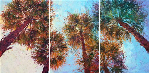 Triptych oil painting of palm trees like PGA West clubhouse by modern impressionism
