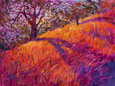Paso Robles wine country oil painting by contemporary expressionism painter Erin Hanson.