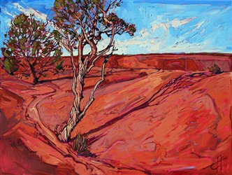 Erin Hanson paints Canyon de Chelly in bold, simplified brush strokes and vivid color.