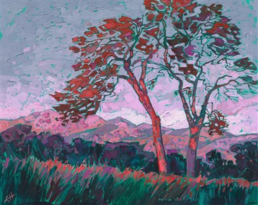 Mariposa wine country oil painting by landscape artist Erin Hanson