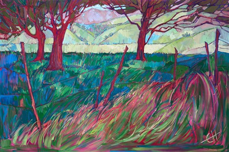 Paso Robles scenery with oak trees in magenta and green by impressionist painter Erin Hanson