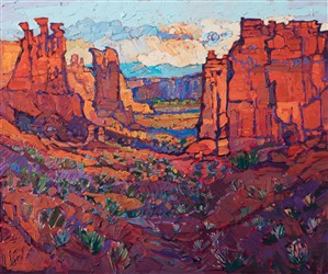 Arches National Park landscape oil painting from Moab Utah, by modern impressionism painter Erin Hanson.