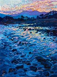 Kyoto Arashiyama oil painting of reflected light, by modern painter Erin Hanson