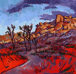 Joshua Tree dramatic storm oil painting by abstract impressionism artist Erin Hanson