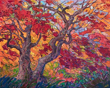 Impressionistic painting of Japanese maple trees, by artist Erin Hanson