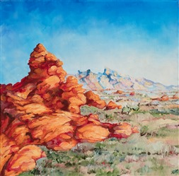 Valley of Fire oil painting of iconic old man in the mountain rock formation by contemporary painter Erin Hanson