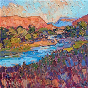 Zion landscape oil painting by National Park artist Erin Hanson.