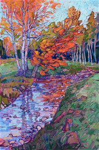 White Mountains fall colors painting by American impressionist Erin Hanson.