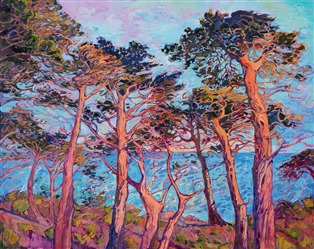 Seventeen Mile Drive in Pebble Beach coastline original oil painting by Erin Hanson