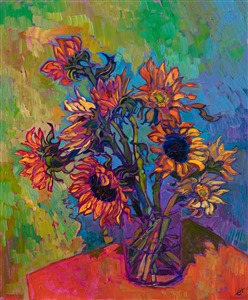 Sunflowers modern impressionism oil painting after Van Gogh, by Erin Hanson.