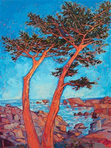 Pebble Beach cypress tree oil painting of Seventeen Mile Drive, by California impressionist Erin Hanson