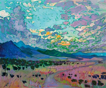 Colorado clouds impressionism oil painting by Erin Hanson