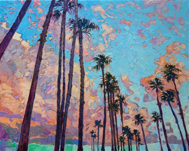 San Diego palm trees California impressionism oil painting by Erin Hanson