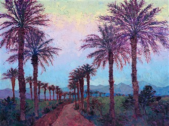 La Quinta painting of Coachella Valley palms - original oil painting by modern impressionist Erin Hanson