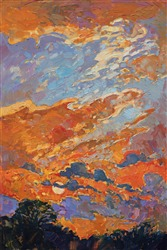 Texas sky landscape painting in a colorful impressionist style by Erin Hanson