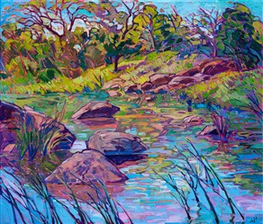 Texas hill country landscape oil painting from near Enchanted Rock, by artist Erin Hanson