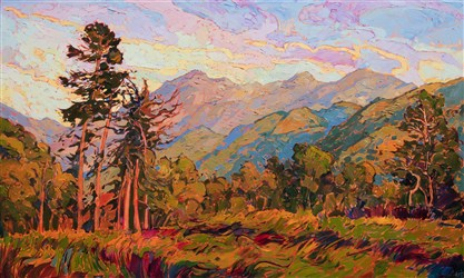Early California style oil painting of Carmel Valley, by modern impressionist Erin Hanson.