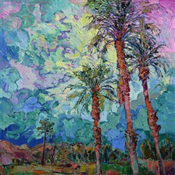 Date palms painted in an impressionist style, by American expressionist Erin Hanson.