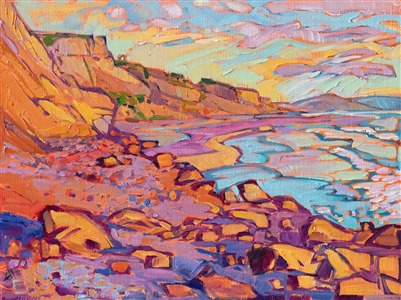 Small 9x12 oil painting of Black's Beach, San Diego, by impresisonist Erin Hanson