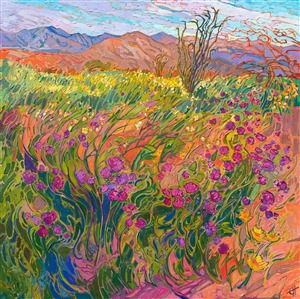 Borrego Springs super bloom desert landscape oil painting of wildflowers, by Erin Hanson