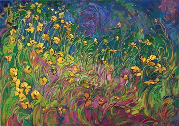 Expressionist floral painting by Erin Hanson, bright colors and bold movement in oils.
