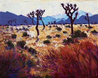 Landmark oil painting by Erin Hanson, Joshua Tree Light