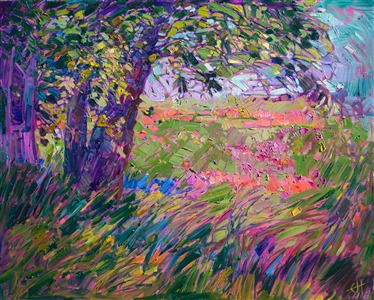 Mosaic wildflower landscape oil painting by modern expressionist Erin Hanson