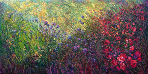 Large mural oil painting of abstract floral in a colorful impressionistic style.