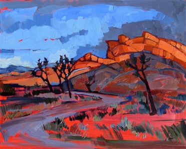 Joshua Tree storm colors, oil painting by Erin Hanson