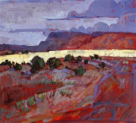 Dramatic lighting in desert colors, original oil painting by Erin Hanson