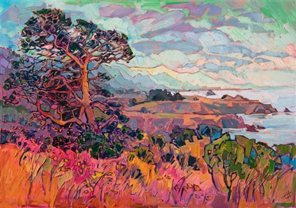 Mendocino California coast artwork original oil painting for sale by impressionist Erin Hanson.