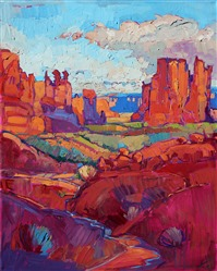 Arches National Park, modern impressionist oil painting by Erin Hanson