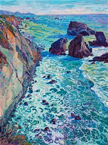 Mendocino California coast original oil painting by modern impressionist Erin Hanson