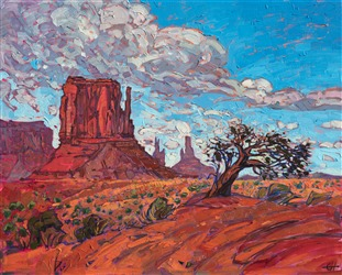 Colorful red rock landscape painting of bristlecone pine in Monument Valley, Arizona.