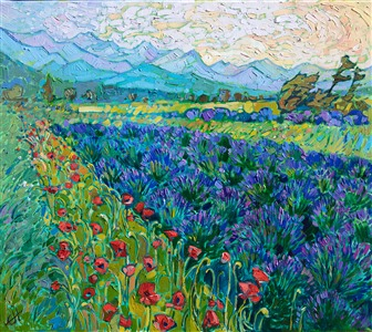 Sequim Washington northwestern landscape painting of poppies and lavender