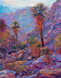 Palm Canyon at Indian Canyons original impressionist oil painting by Erin Hanson
