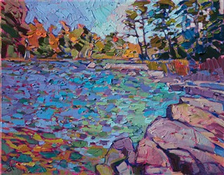 Landscape oil painting of Eagle Lake in Acadia National Park by contemporary artist Erin Hanson