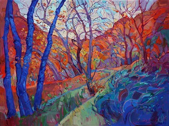 Southern Utah colors painted in dramatized oils, by expressionist painter Erin Hanson
